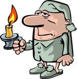 La persona soñolienta con una vela Imagenes de archivo