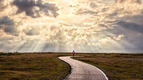La persona sola cammina lungo un percorso nei raggi del sole fotografie stock