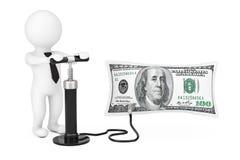 la personne 3d avec le compresseur de main noire gonfle le ballon de dollars US Image stock