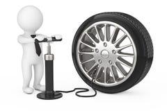 la personne 3d avec le compresseur de main noire gonfle la roue de voiture 3d rendent Photo stock