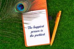 La personne la plus heureuse est la plus jolie Images libres de droits