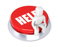 La personne s'assied sur le bouton, symbolise le requ Images stock