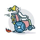 La personne sur un fauteuil roulant se déplace rapidement Images libres de droits