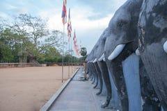 La perspectiva de las estatuas antiguas de las cabezas de los elefantes en Anuradhapura Sri Lanka foto de archivo
