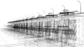 La perspective 3D rendent du wireframe de bâtiment Photographie stock