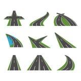 La perspective de bande dessinée a courbé des icônes de route réglées Vecteur illustration de vecteur