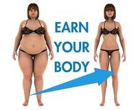 La perte de poids de femmes gagnent votre corps Photos libres de droits