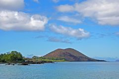 La Perus Bay in Maui. La Perus Bay in South Maui, Hawaii, with boats in the water Royalty Free Stock Photo