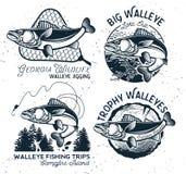 La pesca d'annata dei glaucomi simbolizza ed etichette illustrazione di stock