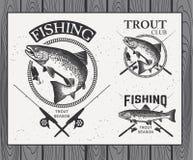 La pesca d'annata della trota simbolizza, etichette e progettazione Fotografie Stock