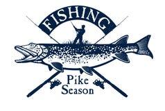 La pesca d'annata della trota simbolizza, etichette e progettazione Immagine Stock