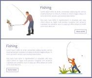 La pesca de los carteles fijó el ejemplo del vector de los varones libre illustration