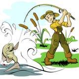 La pesca del cebo del pescador y de los pescados aprieta vector demasiado libre illustration