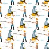 La pesca del pescador de los pescados de las capturas del vector de los pescadores lanzó la barra en captura del agua y la vuelta libre illustration