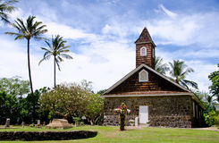 La petite église de lave célèbre Pâques, Makena, Maui, Hawaï Images libres de droits
