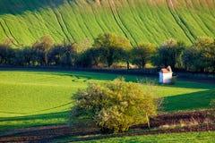 La petite chapelle entourée par des champs et des arbres de blé Beau paysage coloré de ressort en Moravie du sud, République Tchè photographie stock