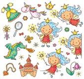 La petite fée a placé avec un château, une licorne, un dragon et des accessoires illustration de vecteur