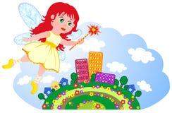 La petite fée vole au-dessus de la ville Photo libre de droits