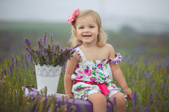 La petite fille assez mignonne porte la robe blanche dans un domaine de lavande jugeant un panier plein des fleurs pourpres photographie stock