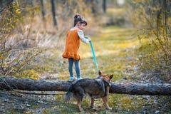 La petite fille avec un grand chien s'élève au-dessus d'un rondin Photographie stock libre de droits