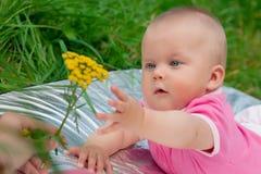 La petite fille dans des vêtements roses Images stock