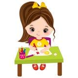 La petite fille de vecteur dessine Petit artiste de vecteur illustration stock