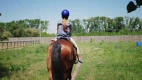 La petite fille de vue arrière dans un casque de protection monte un cheval brun banque de vidéos