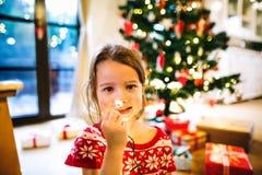 La petite fille a embrouillé dans les lumières à chaînes au temps de Noël Images stock
