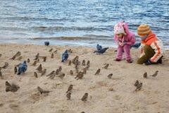 La petite fille et le garçon jouent la plage en jour d'automne Photographie stock