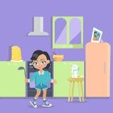 La petite fille fait cuire le dîner à la maison Jeune Madame Bake illustration stock