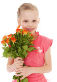 La petite fille heureuse avec s'est levée dans des vêtements rouges Photos stock