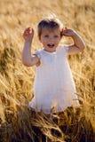 La petite fille hurle sur le champ Image stock