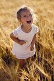 La petite fille hurle sur le champ Image libre de droits