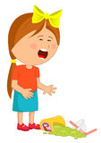 La petite fille a laissé tomber son pleurer de boisson d'aliments de préparation rapide Image stock