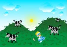 La petite fille marchant sur un pré Illustration de Vecteur