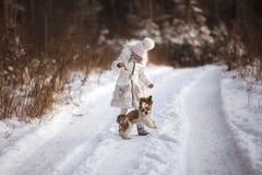 La petite fille marche avec son tzu aimé de shih de chiot Photo libre de droits