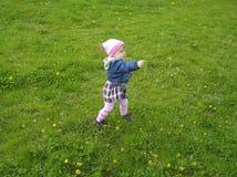 La petite fille marche en nature sur l'herbe verte Photographie stock libre de droits
