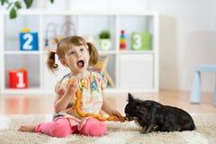 La petite fille mignonne alimente des saucisses à son chien Photos libres de droits