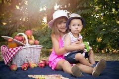 La petite petite fille mignonne et un garçon s'asseyent sur une couverture dans t Photos stock