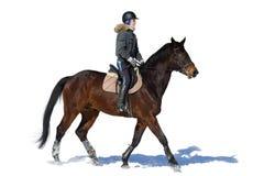 la petite fille monte un cheval Une femme monte un cheval formation hippodrome S Image stock