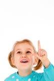 La petite fille ont l'idée d'isolement sur le blanc photographie stock