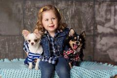 La petite fille s'assied avec deux chiens de chuhuahua Photos stock