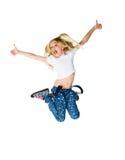 La petite fille sautent Photographie stock
