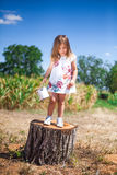 La petite fille se tient sur un tronçon dans un domaine images libres de droits