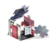 La petite maison avec un toit non fini, un drain et une boîte aux lettres, s'est pliée comme un puzzle des éléments des factures  illustration stock