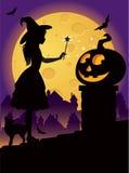 La petite sorcière sur le toit Images stock