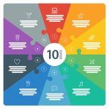 La página completa numerada espectro plano del arco iris coloreó la presentación del rompecabezas carta infographic con el campo  Imágenes de archivo libres de regalías