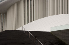 La Philharmonie, Luxembourg. The outside of the modern Philharmonic Concert Hall in Luxembourg with its columns and architectural shapes royalty free stock photos
