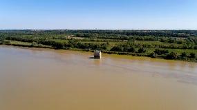 La photo aérienne de la maison a inondé en Loire, Coueron image libre de droits