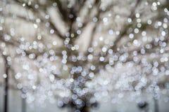 La photo abstraite de l'arbre d'hiver et du bokeh de scintillement s'allume Images libres de droits